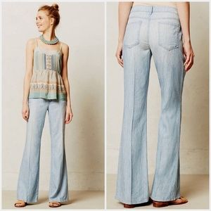 Anthropologie LEVEL 99 Newport Chambray Wide-Legs